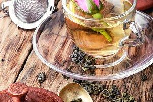 herb tea made from tea rose petals