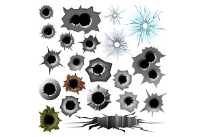 Bullet hole track trace sign gunshot crack torn steel war target break vector illustration.
