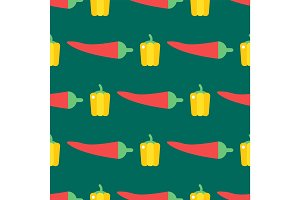 Red chili pepper healthy plant seamless pattern vintage illustration food vegetable background