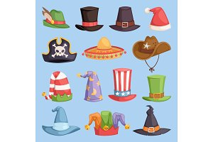 Different funny hats for party and holidays masquerade vector