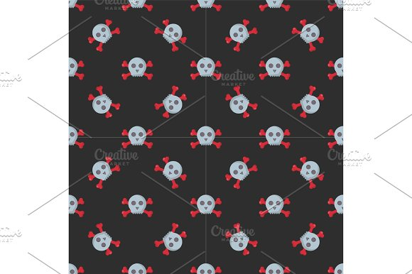 Grunge Seamless Pattern With Skulls Vector Illustration Human Bone Horror Art Dead Face Skeleton
