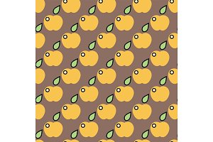 Apple background vector illustration textile green fruits seamless pattern.