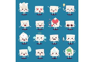Envelope message emojji character emotions face vector illustration.