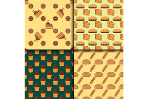 Cookie cakes seamless pattern tasty snack delicious chocolate homemade pastry biscuit vector illustration