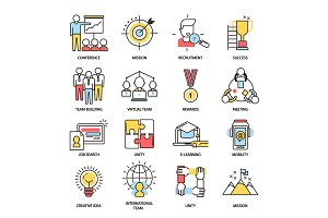 Team building business communication outline icons vector isolated together command teamworking