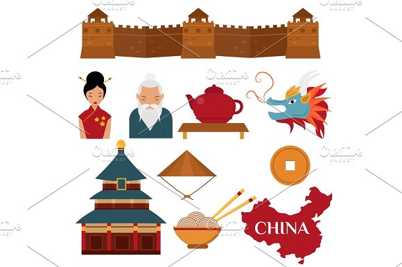 Chinese Asian Oriental Decoration Sightseeing Festival Gold Ancient Traditional Culture Vector Illustration