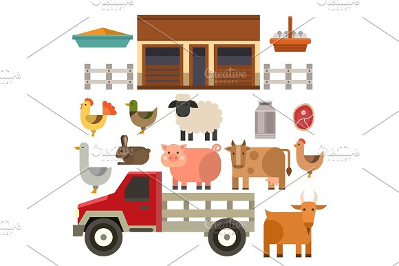 Farm Icon Vector Illustration Nature Food Harvesting Grain Agriculture Different Animals Characters