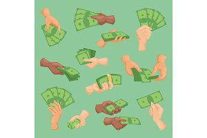 Human hands holding money vector illustration isolated