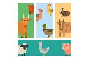 Farm icon vector illustration nature food grain agriculture different animals characters.