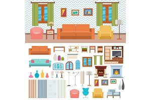 Furniture room interior design home decor concept icon set flat vector illustration.
