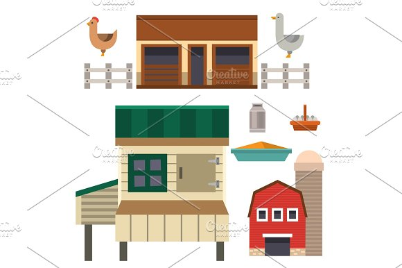 Farm House Food Outdoor Barn Building Clean Meadow Natural Agriculture Animals Vector Illustration
