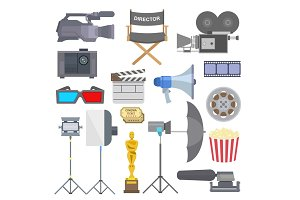 Cinema movie making tv show tools equipment symbols icons vector set illustration.