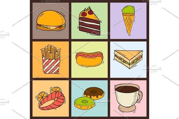 Vector Icons Sweet Fast Food Hand Drawn Restaurant Breakfast Cake Design Kitchen Unhealthy Dessert