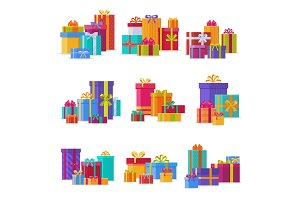 Gift box packs composition event greeting object with ribbon and bow birthday isolated vector illustration.
