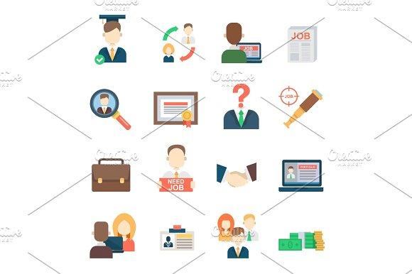 Job Search Set Office Human Resourses Recruitment Employment Work Meeting Manager Vector Icons Of Labor