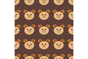 Seamless teddy bear pattern vector pattern design animal illustration cartoon fabric baby decoration