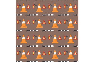 Auto transport motorist seamless pattern vehicle equipment service car driver tools vector illustration.