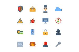 Internet security safety icon virus hacker attack vector data protection technology network concept design.