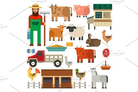 Farmer Character Man Agriculture Person Profession Rural Gardener Farm Animals Vector Illustration