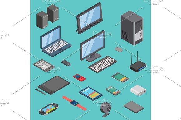 Vector Set Of Isometric Computer Gadget Devices Icons Wireless Technologies Mobile Communication 3D Illustration