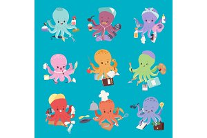 Octopus mollusk ocean coral reef animal character different pose like human and cartoon funny graphic marine life underwater tentacle vector illustration.