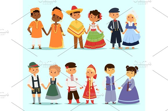 Lttle Kids Children Couples Character Of World Dress Girls And Boys In Different Traditional National Costumes And Cute Nationality Dress Vector Illustration