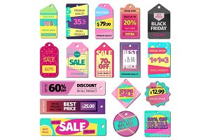 Price sale clothes tag modern pattern price card stickers collection paper blank business promotion badge vector illustration