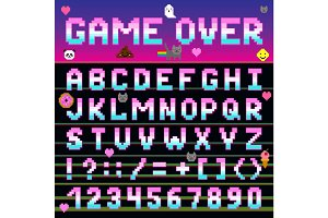 Pixel retro font computer game design 8-16 bit letters and numbers electronic futuristic vector abc typeface digital alphabet print