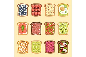 Slices of sandwich bread and butter toast with butter jamflat cartoon style vector illustration.