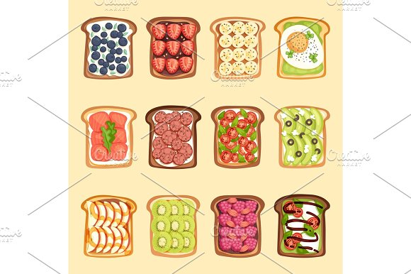 Slices Of Sandwich Bread And Butter Toast With Butter Jamflat Cartoon Style Vector Illustration