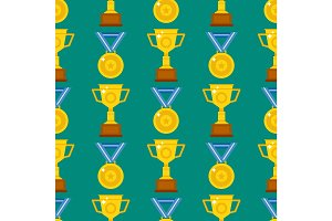 Seamless pattern with trophy and awards vector illustration medallion achievement.