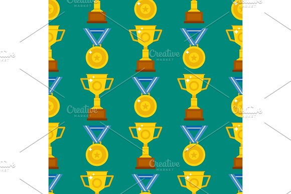 Seamless Pattern With Trophy And Awards Vector Illustration Medallion Achievement
