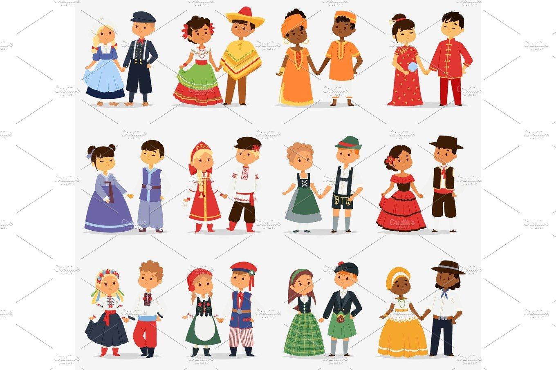 Meninos E Meninas De Nacionalidades Diferentes Childre: Lttle Kids Children Couples Character Of World Dress Girls