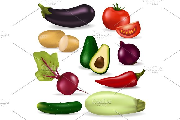 Realistic 3D Vegetables Vegan Nature Organic Food Vector Fresh Vegetarian Healthy Agriculture Illustration