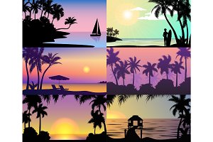 Summer night time sunset vacation nature tropical palm trees silhouette beach landscape of paradise island holidays vector illustration.