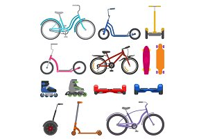 Alternative city wheel transport and urban circle wheeling personal bike transportation gadgets electric scooters vector illustration.