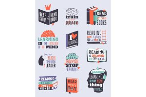 Reading motivation quote phrases badge logo bubble vector illustration.
