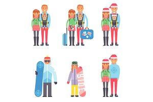Travel winter vacation time people couples vector illustration.