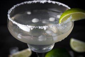 Margarita cocktail on dark