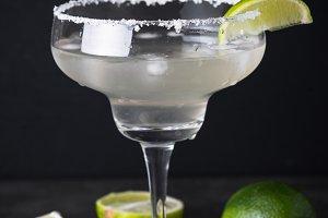 Margarita cocktail on black