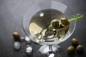 Martini cocktail on dark