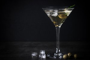 Martini cocktail on dark