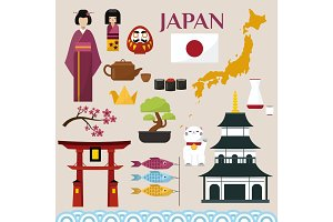 Japan famouse culture architecture buildings and japanese traditional food vector icons illustration of travel vacation to country