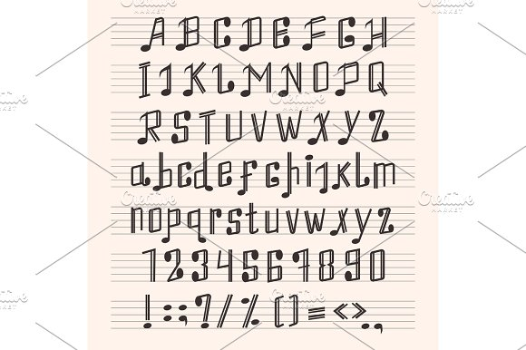 Musical Decorative Notes Alphabet Font Hand Mark Music Score Abc Typography Glyph Paper Book Vector Illustration