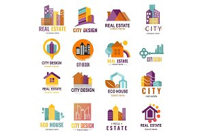 Architecture building skyscraper construction builder developer agency logo badge real estate company vector illustration