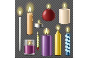 Candles realistic 3d set wax candle fire flame light isolated beeswax taper on transparent background vector illustration.