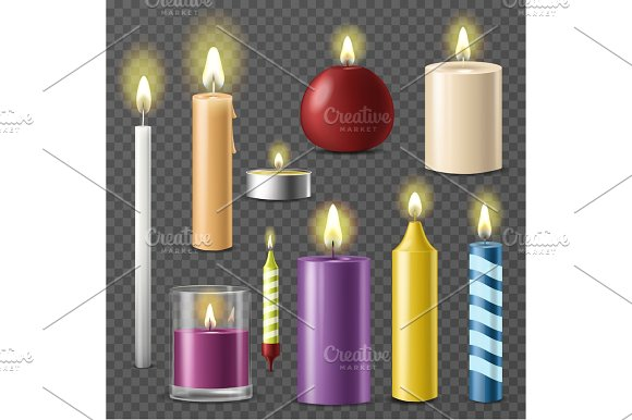 Candles Realistic 3D Set Wax Candle Fire Flame Light Isolated Beeswax Taper On Transparent Background Vector Illustration
