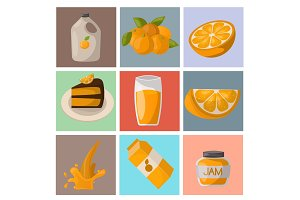 Ripe orange products fruits citrus slices sweet food realistic organic vector illustration.