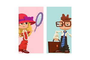 Happy boy and girl cards child young kids dressed like grown man and woman character vector illustration