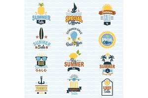 Summer seasonal sale shopping offer logo badge discount vector illustration summertime vacation travel sunny logotype